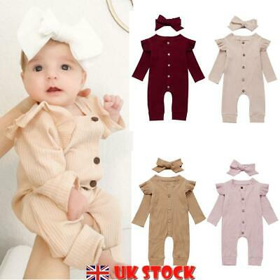 Newborn Baby Girl 2Pcs Set Autumn Clothes Ruffle Knitted Romper Jumpsuit Outfits • 8.99£