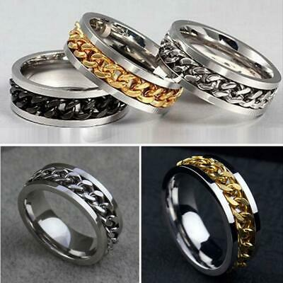 Fashion Mens Stainless Wedding Rotatable Chain Band Ring Spinner Titanium Steel • 3.32£