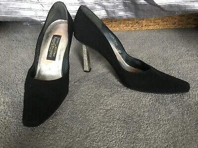 STUART WEITZMAN Russell & Bromley Black Silk Court Shoes Crystal Heels  • 19.99£