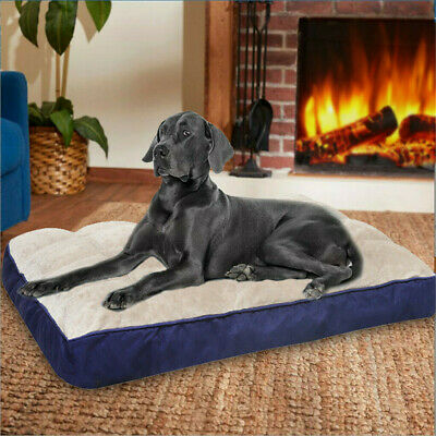 Padded Large Dog Bed Pillow Pet Mattress Soft & Warm Cushion Kennel Mat Washable • 24.98£
