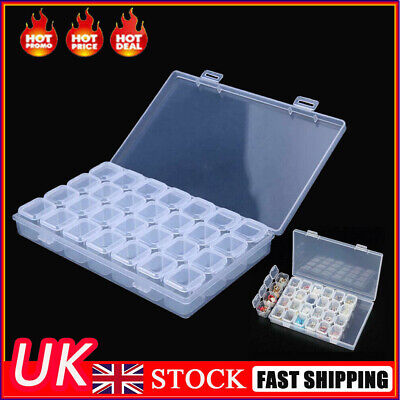 28 Compartment Bead Storage Box Jewelry Diamond Earring Craft Tray Container UK • 5.89£