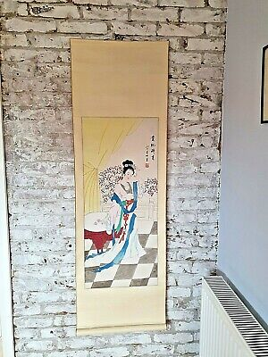 Large Hand Painted Silk Finished Chinese Oriental Geisha Scroll Wall Hanging #! • 20£