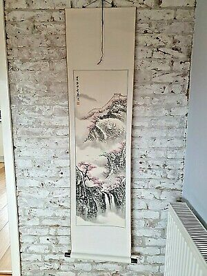 Large Hand Painted Silk Finish Chinese Oriental Mountain Landscape Wall Hanging • 20£