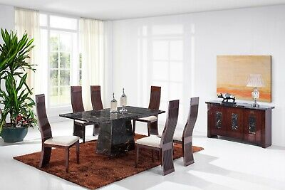 1.8m Marble Dining Table & 4 Solid Wooden Chairs Set • 1,699£