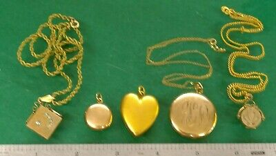 $ CDN6.96 • Buy Assorted Vintage Gold Filled Locket Jewelry Lot / Some Have Chains