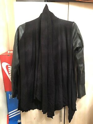 Zara Knit Black Jumper With Faux Leather Sleeves S:(Euro L) • 12£