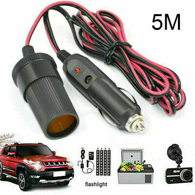 5M Car Cigar Cigarette Lighter 12V Extension Cable Adapter Sockets Charger Lead • 6.85£