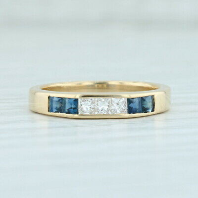AU562.62 • Buy 0.46ctw Sapphire Diamond Ring 18k Yellow Gold Size 5.75 Wedding Stackable Band