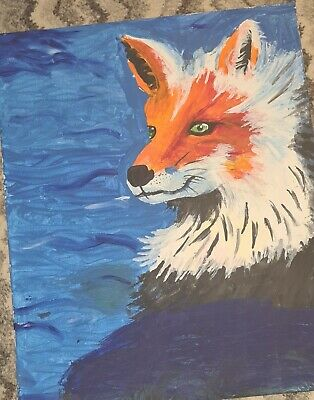 Hand Painted Wall Canvas, Orange And White Fox • 6£