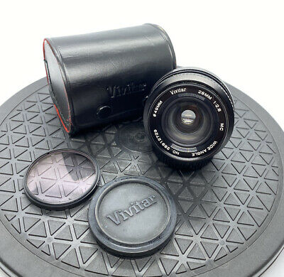 Vivitar 28MM 1:2.8 MC Wide Angle Lens-Canon FD Mount - With Case + Caps - GREAT+ • 54£