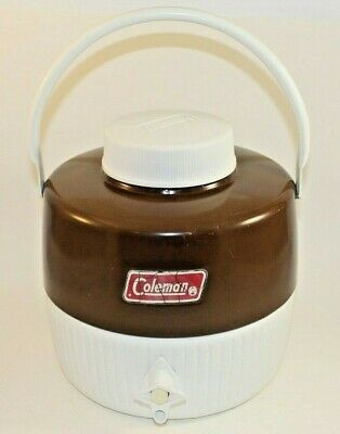 $26 • Buy Coleman Gallon Water Cooler Jug With Handle And Pour Cup Brown-Vintage