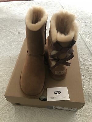£100.21 • Buy UGG Bailey Bow II Winter Snow Boots Chestnut Women Size 8 New In Box