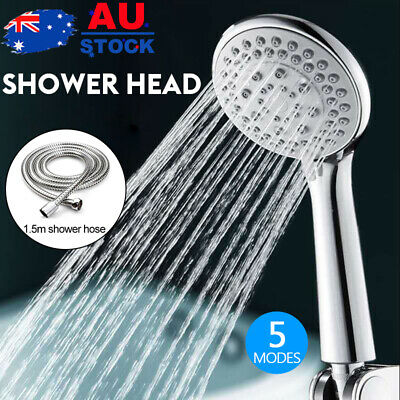 AU16.09 • Buy 5 Modes Single Hand Held Shower Head Spray Replacement 1.5m Hose Multifunction