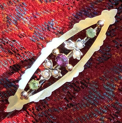 Antique Edwardian Suffragette Brooch 9ct Gold Amethyst Peridot Pearl • 240£