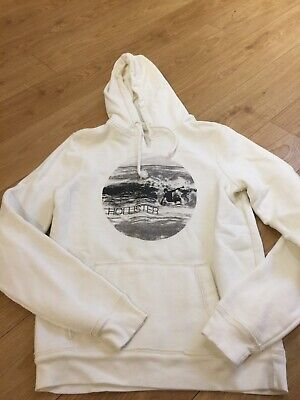 Boys Mans White Hollister Hoodie Size S Surfing • 7.99£