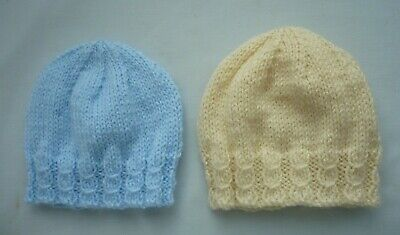 Hand Knitted 2 Gorgeous New Baby Beanie Hats Cream & Blue Newborn - 3mths • 2.30£