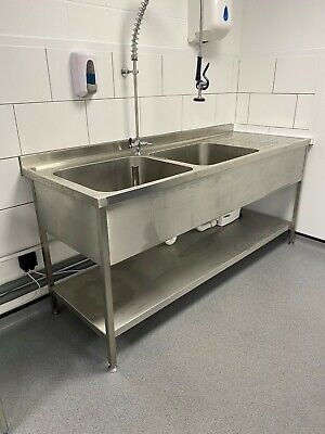 Stainless Steel Sink Catering Kitchen Commercial Double Bowl Right Hand Drainer  • 360£