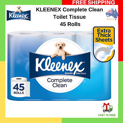 AU28.95 • Buy Toilet Paper 45 Rolls Kleenex Complete Clean 2 Ply White Soft Roll Tissue Bulk