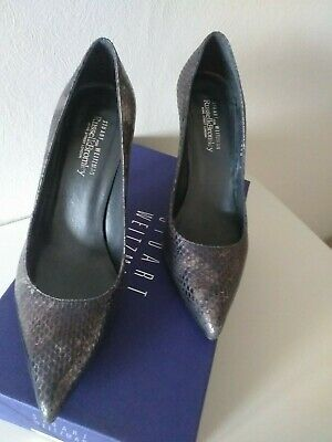 Stuart Weitzman Daisy Ladies Plain Court Shoes, Size 5 - Metallic Print Snake • 15£