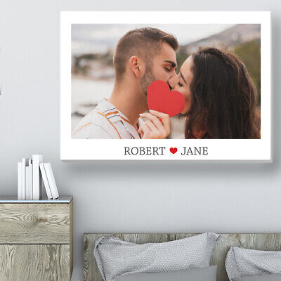AU25.81 • Buy Valentines Day Gift Personalised Canvas Print For Him For Her Photo On Canvas
