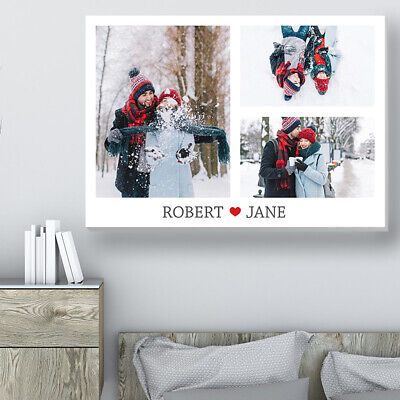 AU27.65 • Buy Personalised Canvas Collage Valentines Day Gift For Him For Her Photo On Canvas