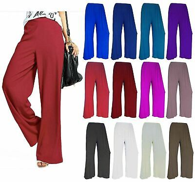 £6.99 • Buy  Ladies Womens Plus Size Plain Palazzo Trousers Baggy Wide Leg Flared Pants 8-26