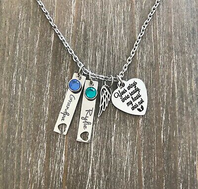 Memorial Necklace Personalized Name Birthstone Angel Wing Loss Sympathy Gift • 18.60£