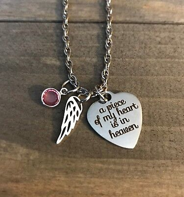 Memorial Necklace Child Mom Dad Son Daughter Jewelry Birthstone Angel Wing Gift  • 14.47£