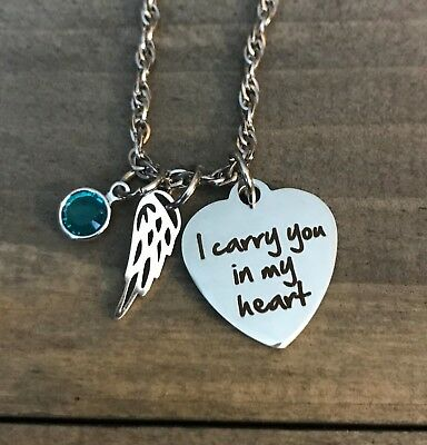 Memorial Necklace Mother Dad Son Daughter Jewelry Birthstone Angel Wing Gift  • 14.31£