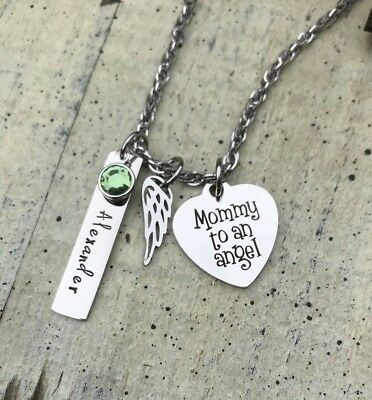 Memorial Necklace Personalized Angel Wing Child Name Infant Loss Mother MOM Gift • 15.92£