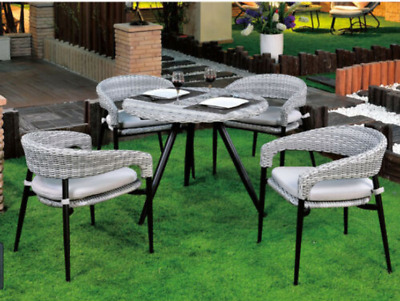 AU610 • Buy 5PCS Outdoor Furniture Dining Chairs Round Table Wicker Cushion Garden Patio