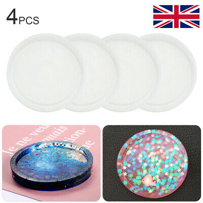 £4.39 • Buy 4pcs Coaster Mold Round Silicone Resin Casting Jewelry Making Mould Tool Kit