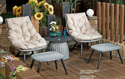 AU590 • Buy 5PCs Rattan Lounges Table Chairs With Cushion Wicker Sofa Set Outdoor Furniture