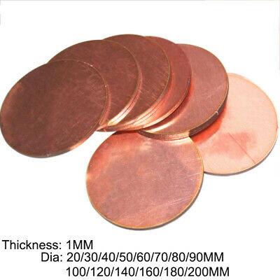 £10.88 • Buy Red Copper Round Sheet Plate Disc DIY Metal Material Thick 1MM Dia 20-200MM 2PCS