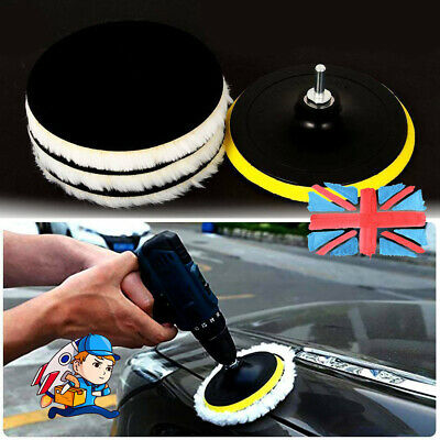 5pcs 6  Buffing Polishing Pads Wool Wheel Mop Kit For Car Polisher Drill UK • 7.35£