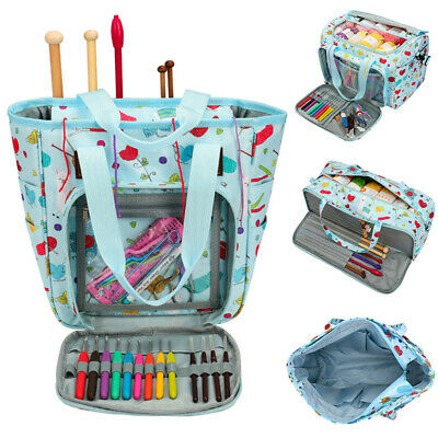 Knitting Organizer Tote Bag Portable Yarn Bag Needles Crochet Hooks Storage Bag • 12.25£