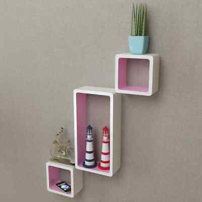 AU91.99 • Buy VidaXL 6x Wall Cube Shelves White And Pink Display Hanging Storage Bookcase