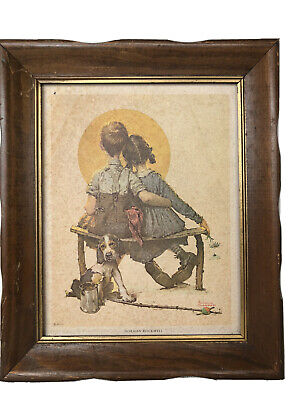$ CDN18.26 • Buy Norman Rockwell Framed Boy And Girl Gazing At Moon 8 X10  Puppy Love Spooners