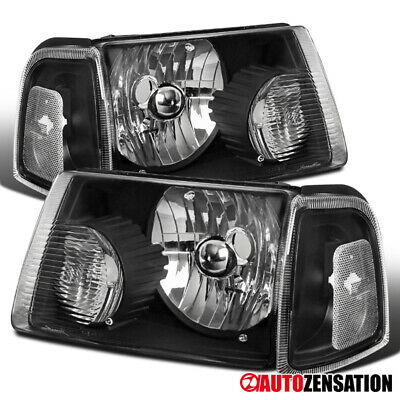 $71.99 • Buy For 2001-2011 Ford Ranger Black Headlights+Corner Signal Lamps Left+Right