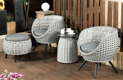 AU769 • Buy 5PCS Set Of Outdoor Furniture Chairs And Table Wicker Cushion With Stool Rattan