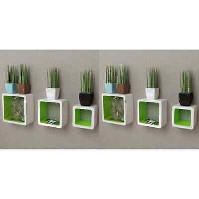 AU78.99 • Buy VidaXL 6x Wall Cube Shelves White And Green Display Hanging Storage Bookcase