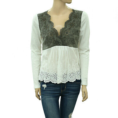 $ CDN31.81 • Buy Odd Molly Anthropologie Eyelet Embroidered Blouse Top Floral Wrap S 1 New 214176