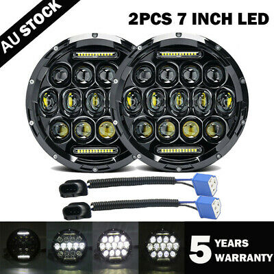 AU75.99 • Buy DOT Pair 7  Inch LED Headlight High Low Beam DRL For JEEP JK GQ PATROL Projector
