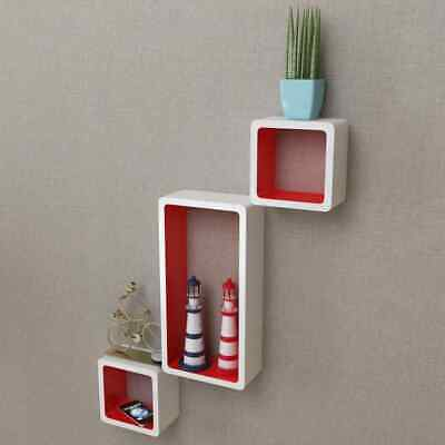 AU93.99 • Buy VidaXL 6x Wall Cube Shelves White And Red Display Hanging Storage Bookcase
