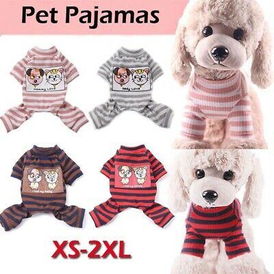 £4.92 • Buy Stripe Small Dog Cats Apparel Pet Pajamas Hoodie Puppy Clothes Jumpsuit XS-2XL