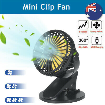 AU14.88 • Buy Portable Mini Fan Travel Rechargeable USB Clip On Desk 360° Rotary With 3 Speeds