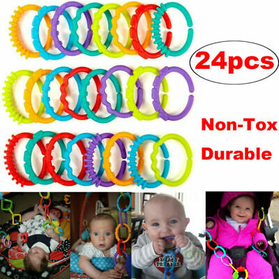 £5.54 • Buy 24x Rainbow Teether Ring Links Silicone Baby Kids Infant Stroller Play Mat Toy﹀