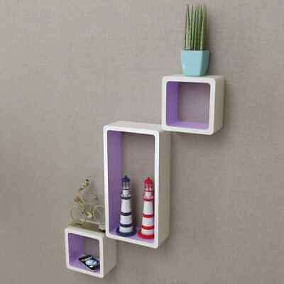 AU86.99 • Buy VidaXL 6x Wall Cube Shelves White And Purple Display Hanging Storage Bookcase