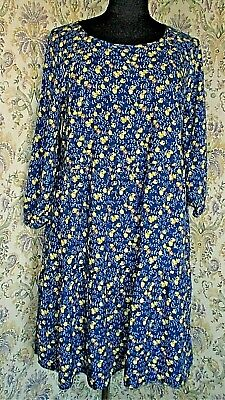 Two Tone Blue And Gold / Mustard Floral Dress By MANTARAY Size 14 • 13.99£