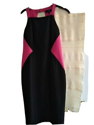 Ladies Next Straight Dress Size 10 Black And Pink Strappy. Lined. (902lf) • 2.99£